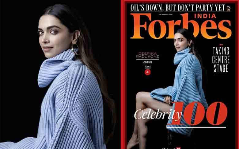Deepika Padukone is now in the Top 5 'Forbes India Celebrity 100' list!!